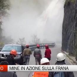 Frana Taleggio, esplosione per rimuovere le rocce pericolanti
