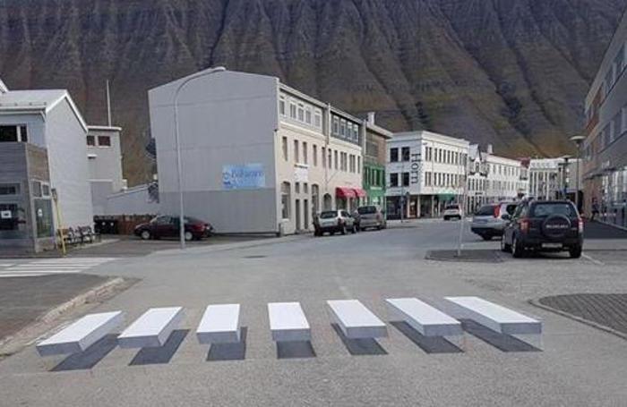 Le strisce pedonali 3D a Ísafjördur