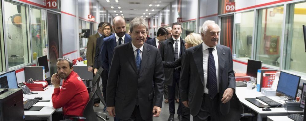 Il premier Gentiloni al Kilometro Rosso «Luoghi d'eccellenza modello per l'Italia»
