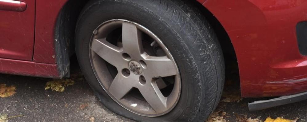 Vandali in azione nella notte a Bergamo Gomme tagliate e 11 auto danneggiate