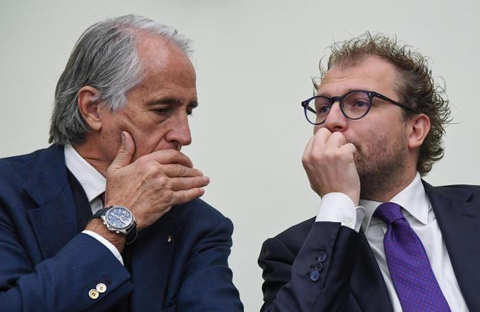 Il presidente del Coni, Giovanni Malagò e il Ministro dello Sport, Luca Lotti