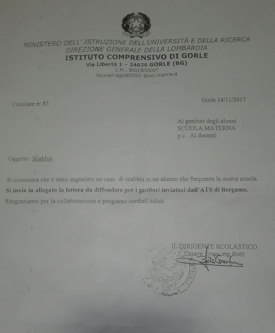 la lettera dell'Istituto comprensivo