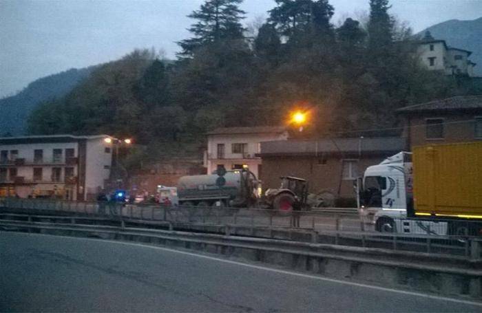 incidente camion trattore Borgo di terzo