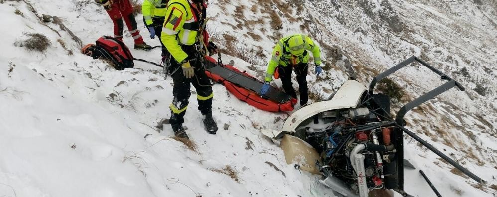 Elicottero caduto sul Monte Alben Masserini e Merelli fuori pericolo