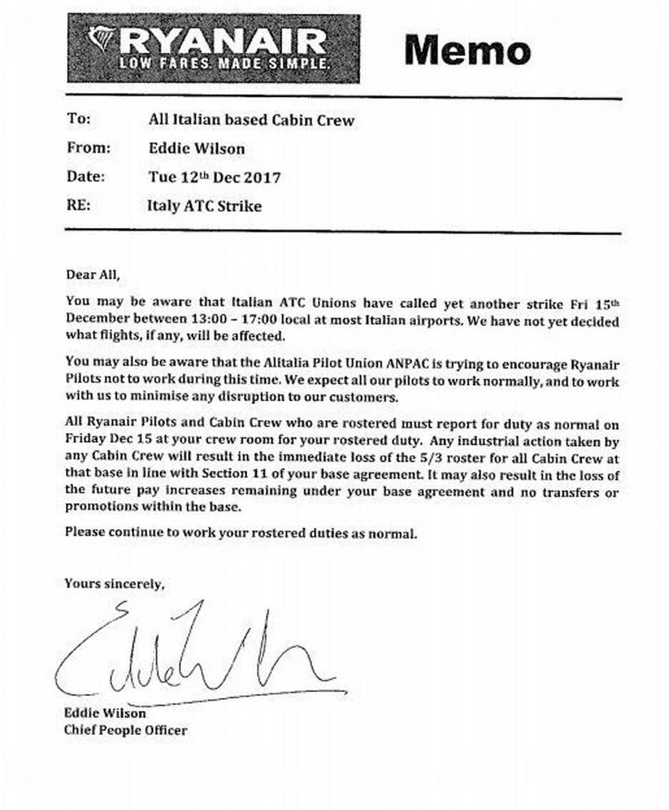 La lettera inviata da Ryanair ai piloti italian