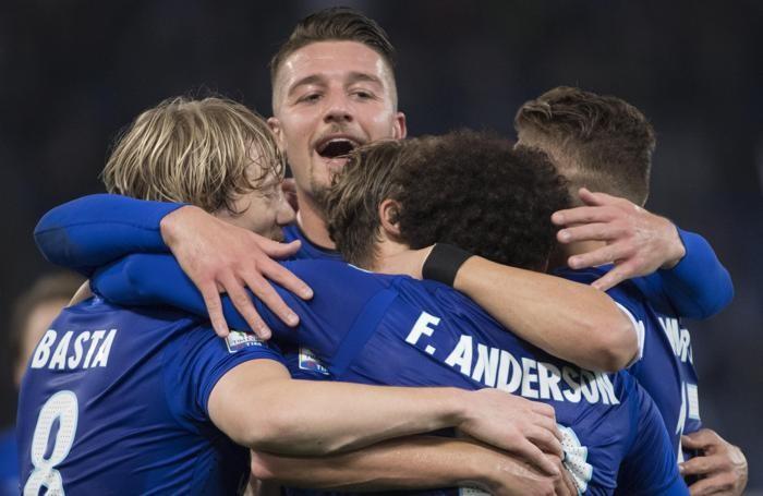 L'esultanza della Lazio