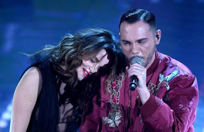Italian singers Giulia Luzi (L) and Raige perform on stage during the 67th Festival of the Italian Song of Sanremo at the Ariston theater in Sanremo, Italy, 09 February 2017. The 67th edition of the television song contest runs from 07 to 11 February. ANSA/CLAUDIO ONORATI