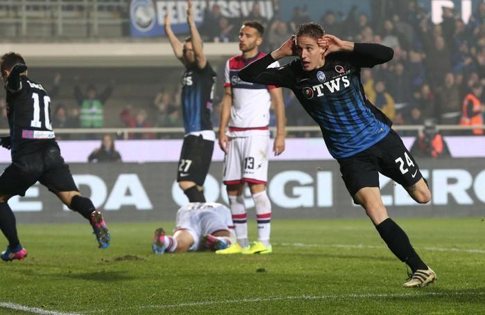 Andrea Conti esulta dopo il gol . ANSA/ MAGNI