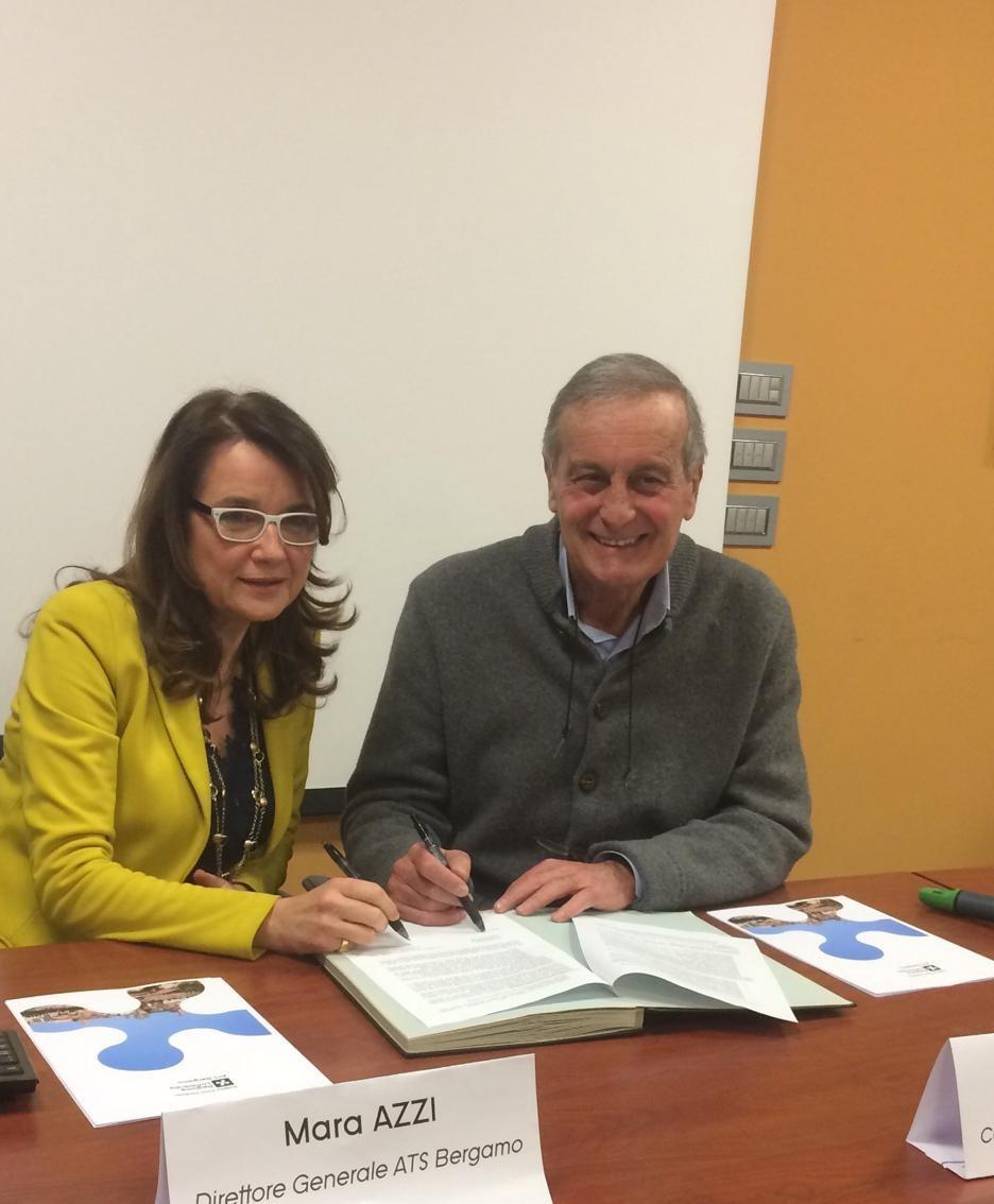 Mara Azzi direttore generale di ATS e Arnaldo Minetti presidente dell'Associazione Cure Palliative Onlus