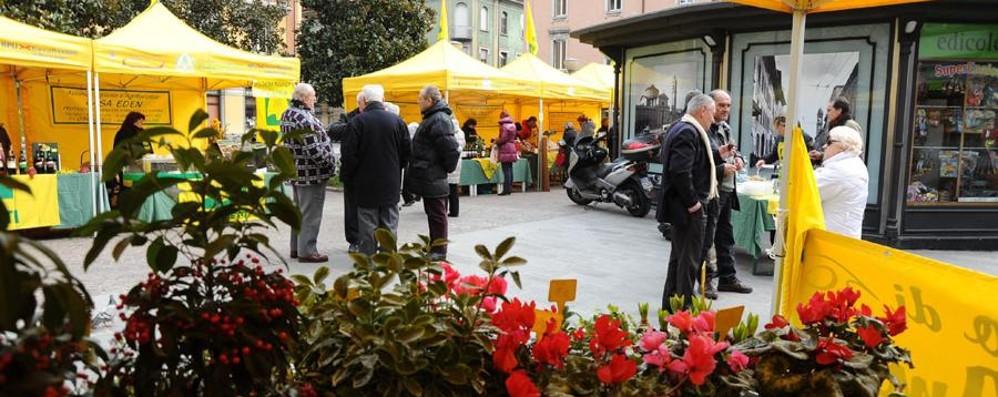 Formaggi, frutta e verdura made in Bg In Piazza Pontida mercato domenicale