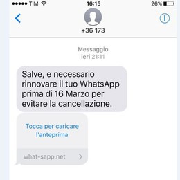 Nuova ondata di sms truffa Attenzione,Whatsapp non va rinnovato
