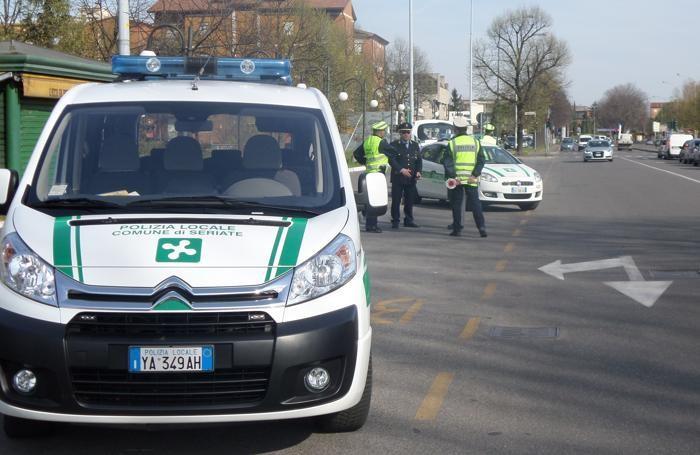 Posto di blocco polizia locale di Seriate