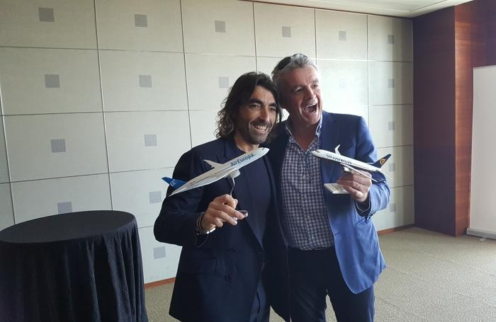 Madrid. Javier Hidalgo,Globalia Group CEO (sx) Michael O'Leary, Ryanair CEO