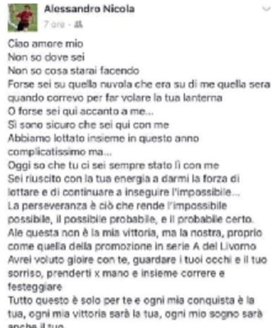 Famoso Crotone, la dedica del mister al figlio morto «Non è la mia  YR48