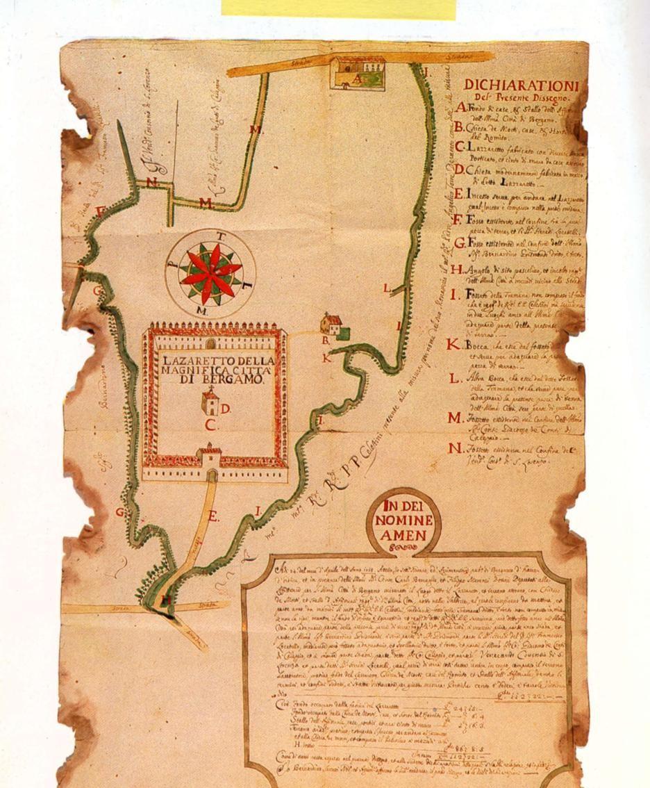 DISEGNO DEL LAZZARETTO DI BERGAMO (1715) ESEGUITO DAL NOTAIO E AGRIMENSORE PUBBLICO BERNARDINO SARZETTI. MAPPA CONSERVATA PRESSO LA BIBLIOTECA CIVICA DI BERGAMO.