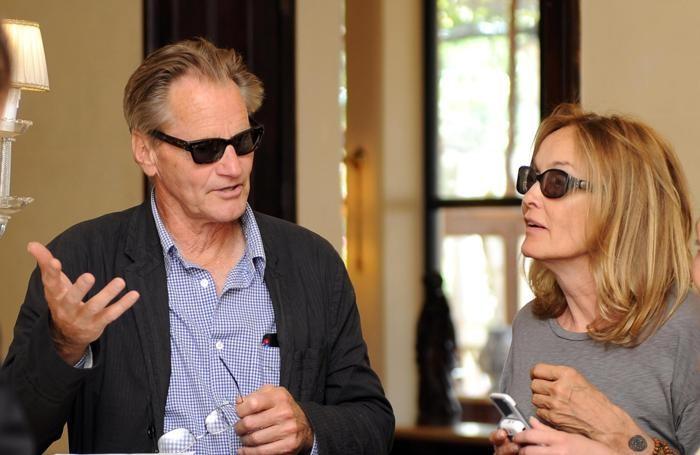 L'attrice statunitense, Jessica Lange, con il marito il regista statunitense, Sam Shepard, a Taormina. ANSA/CLAUDIO ONORATI/on