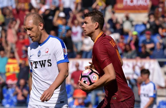 Serie A TIM 2016-17 giornata 32 roma - atalanta dzeko dopogol