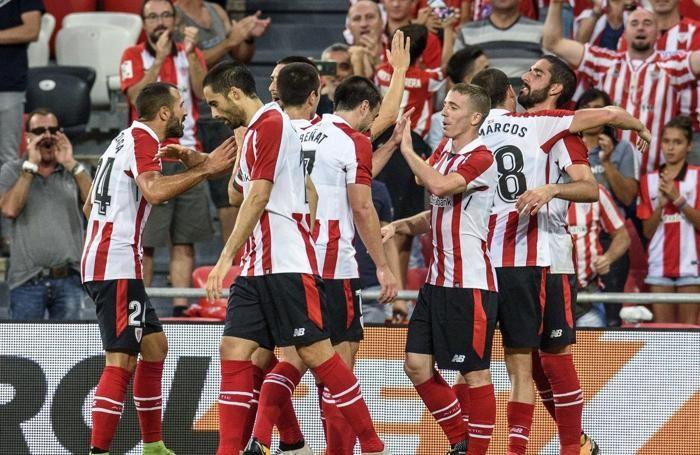 L'esultanza dell'Athletic Bilbao