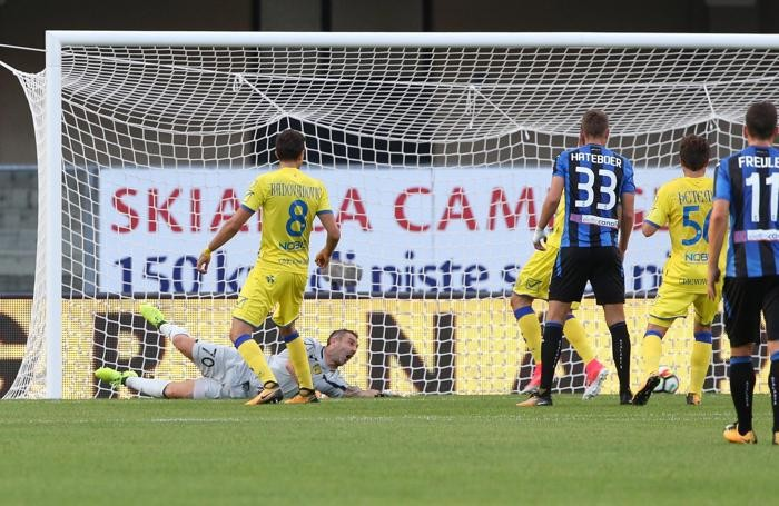 Atalanta?s Josip Ilicic celebrates after scoring the goal of 0-1 (not convalidated, by the VAR, Video Assistent Referee),