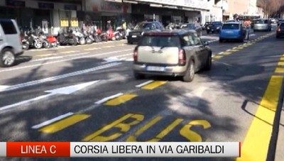 Linea C, corsia preferenziale in Via Garibaldi