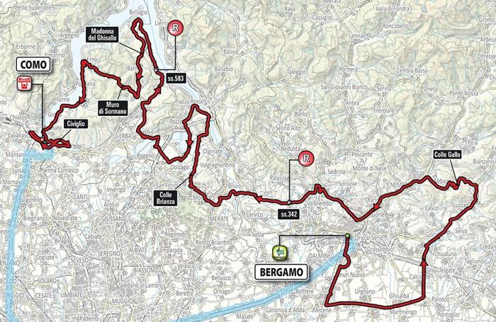 Il percorso del giro di Lombardia