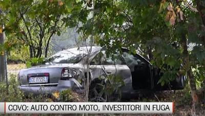 Calcio, schianto tra auto e moto Gli investitori scappano nei campi