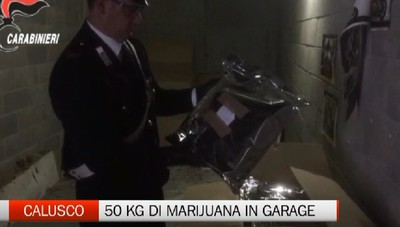 Nel garage 50 chili di marijuana. Arrestato 34enne a Calusco