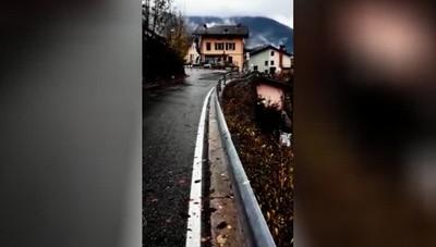 Il cedimento della strada a Vilminore