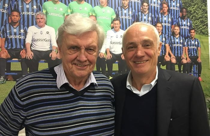 Flemming Nielsen e Antonio Percassi - Atalanta-Milan del 2 aprile 2016