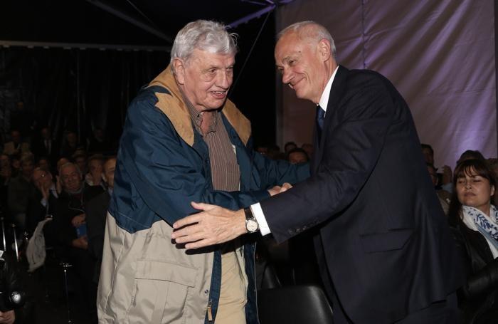 Nielsen con Percassi durante la festa dei 50 anni del Club Amici dell'Atalanta - Foto Magni