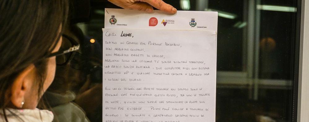 Mozzo, la lettera dei ragazzi disabili «Cari ladri, qui  gli unici tesori siamo noi»