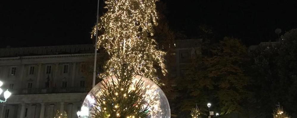 La sorpresa in centro - Foto e video Palle di Natale e l'albero di accende