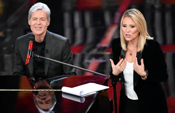 Italian singer and Sanremo Festival artistic director Claudio Baglioni (L) and Italian journalist Federica Sciarelli (R)