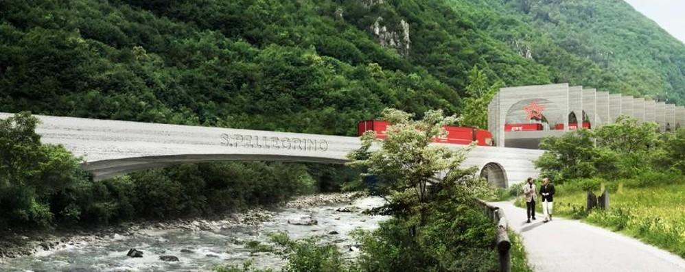 Primo passo del nuovo ponte sul Brembo Collegherà Zogno con la Sanpellegrino