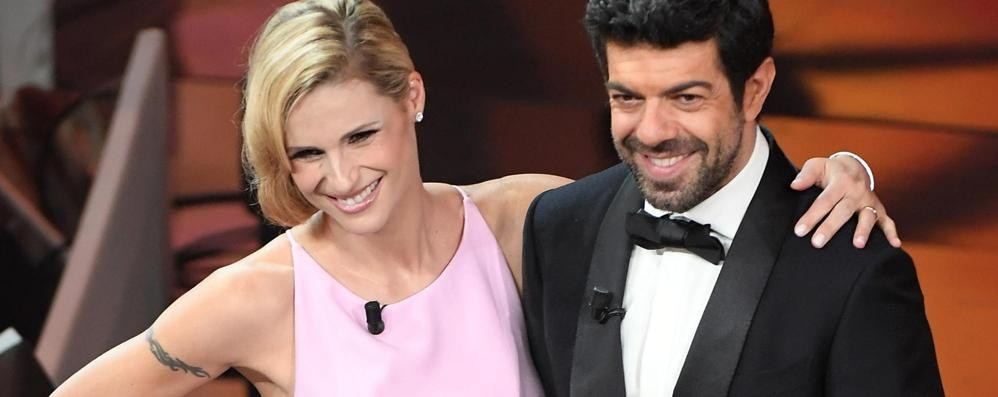 Sanremo, il look retrò di Michelle Abiti «di famiglia» firmati Trussardi