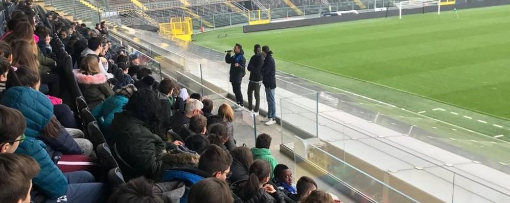 Scuola allo Stadio con l'Atalanta 200 bambini con Barrow e Melegoni