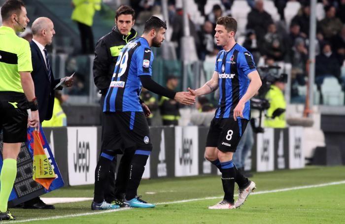 Campionatio di calcio Serie A 2017-2018 Juventus - Atalanta Petagna - Gosens