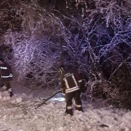 Valle Rossa, alberi caduti sulla strada Intervento sotto la neve nella notte