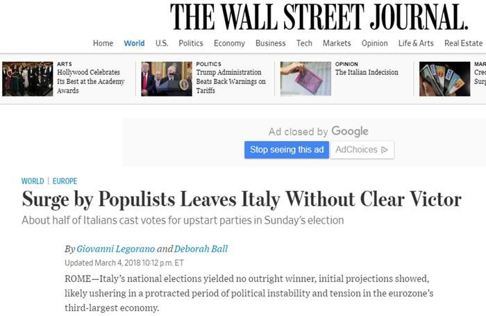 Il sito online del Wall Street Journal con un articolo dedicato all'esito delle elezioni italiane