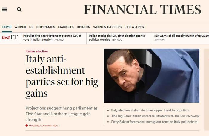 Il sito online del Financial Times con un articolo dedicato all'esito delle elezioni italiane