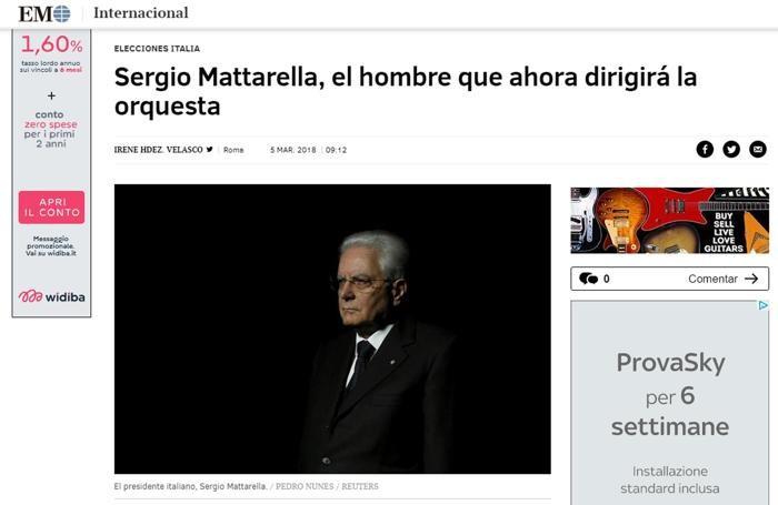 Il sito online di El Mundo con un articolo dedicato all'esito delle elezioni italiane