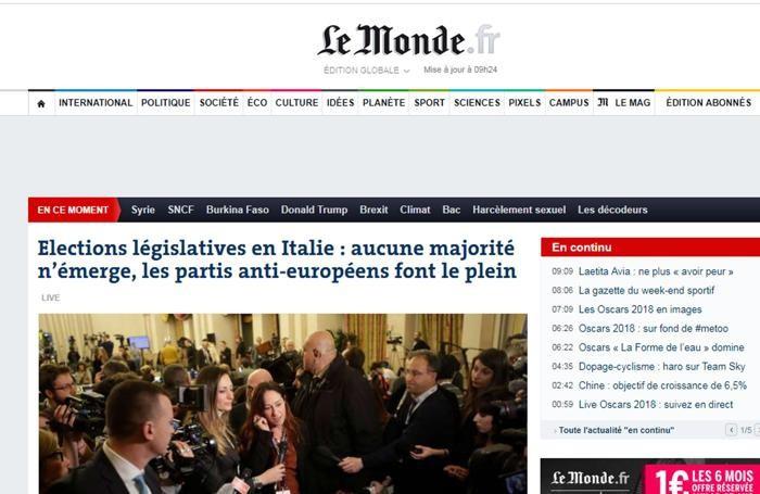 Il sito online di Le Monde con un articolo dedicato all'esito delle elezioni italiane