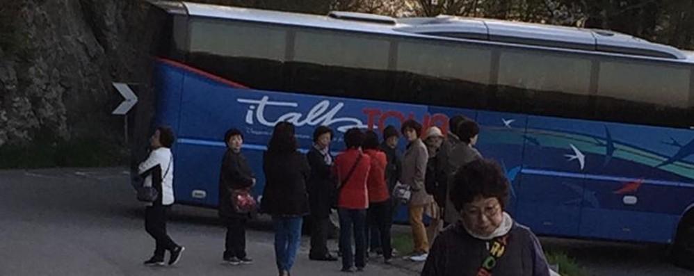 Turisti sudcoreani in tour alla Roncola Bloccati per quattro ore sui tornanti