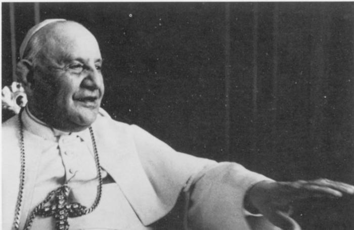 PAPA GIOVANNI XXIII MENTRE PARLA DURANTE UN'UDIENZA (19-03-1961) ANGELO RONCALLI