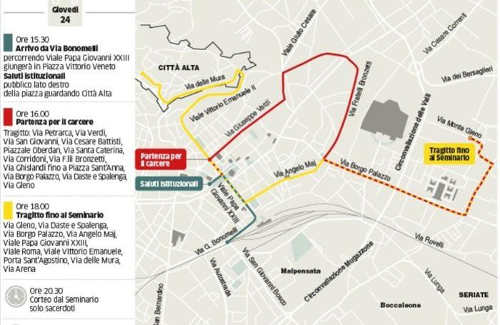 Il percorso della salma del Papa in città