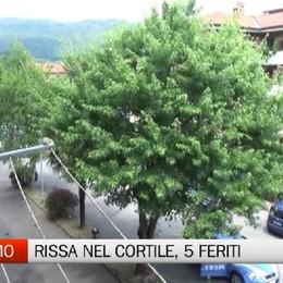 Rissa nel cortile di casa a Valtesse  In cinque finiscono al Pronto soccorso