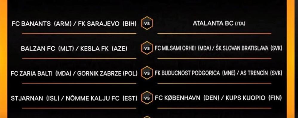 Europa League, l'Atalanta sfiderà la vincente tra Sarajevo e Banants