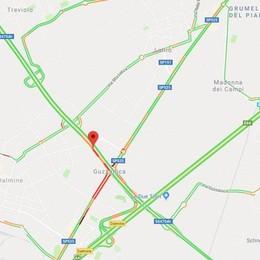 Incidente sulla Villa D'Almè-Dalmine Coinvolte due auto, code a Guzzanica