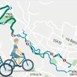 Dallo stadio a Sombreno in bicicletta Otto km «su e giù» nel Parco dei Colli