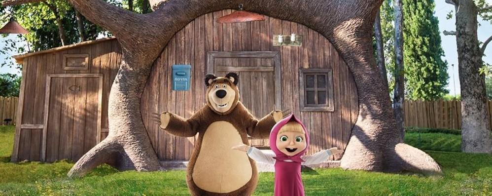 Masha e Orso arrivano a Leolandia E i bambini voleranno con «Vroom»